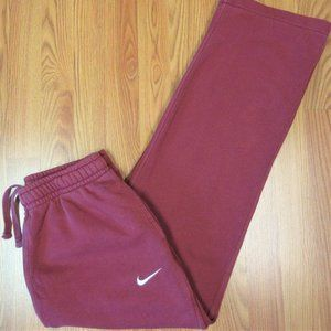NIKE Mens COTTON SWEATPANTS DARK RED & WHITE LARGE